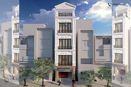 nhà phố tân cổ điển 40m2 4 tầng 1 tum NPCD1301-dd